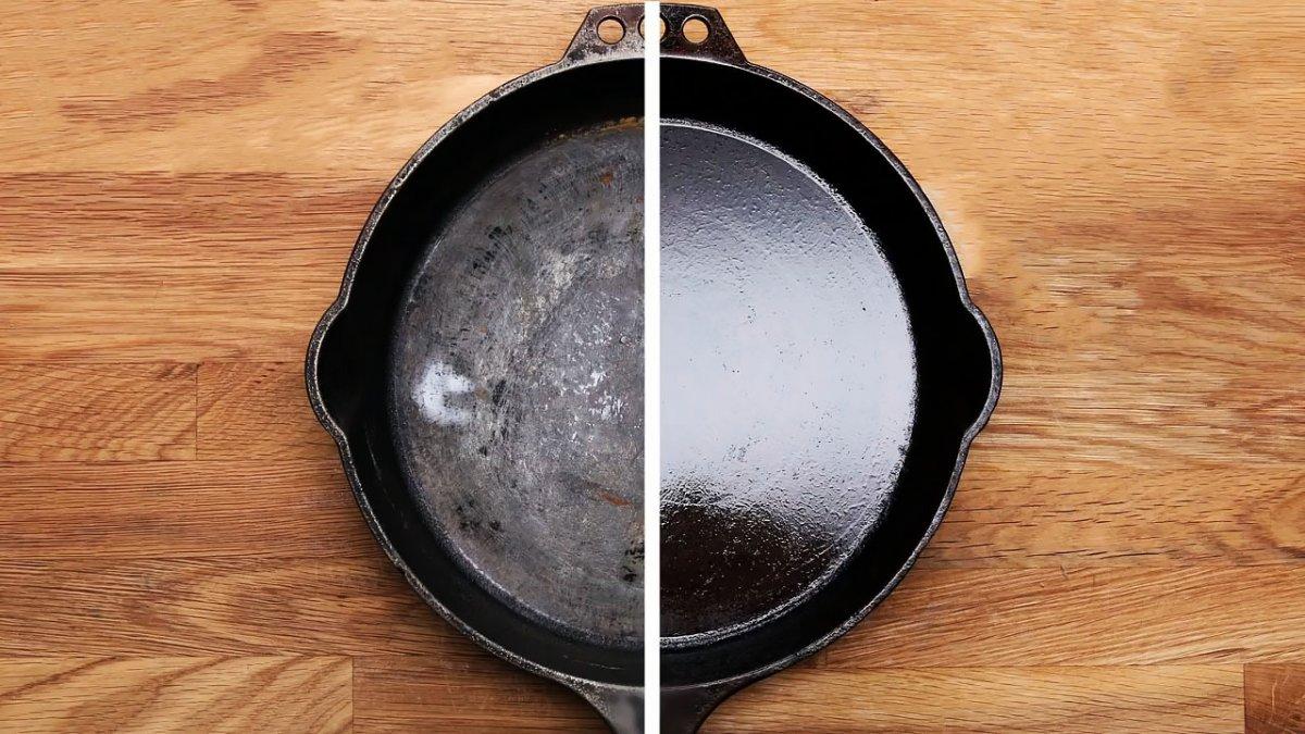 очистка нагара с чугунной посуды