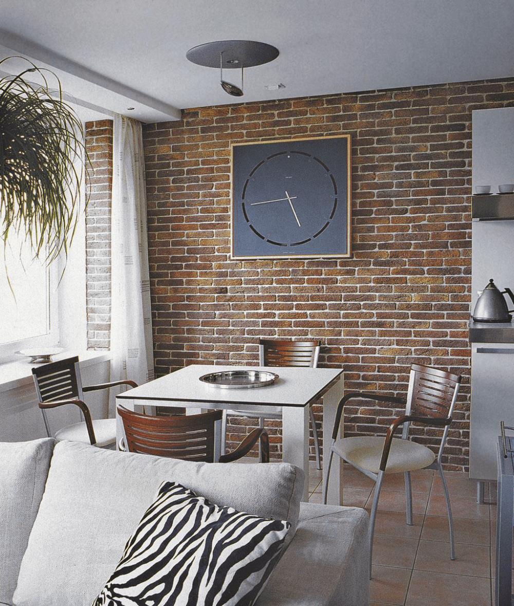 Применение декоративного кирпича в интерьере квартиры_1
