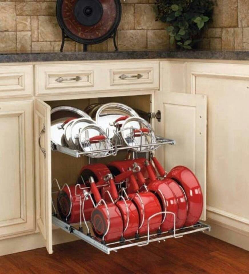 Идеи для хранения сковородок с крышками_2