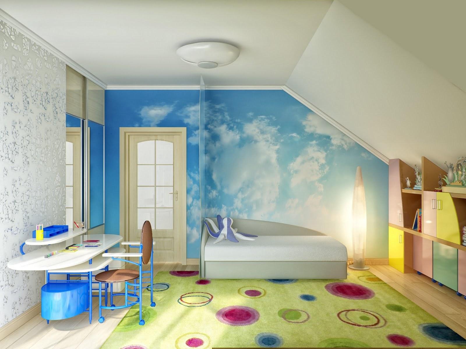 Красивый интерьер комнаты на мансардном этаже_3