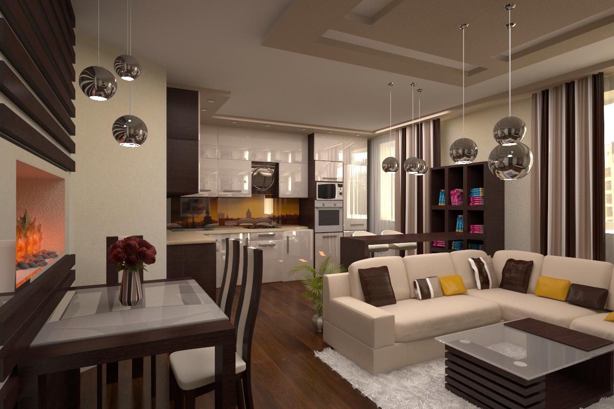 Дизайн кухни-гостиной в однокомнатной квартире_3
