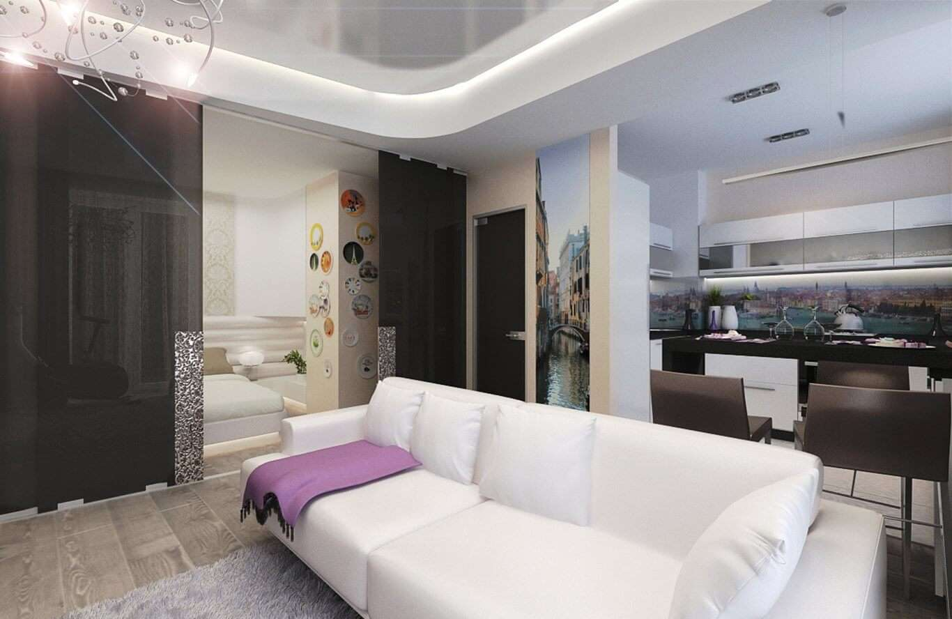 Дизайн кухни-гостиной в однокомнатной квартире_4