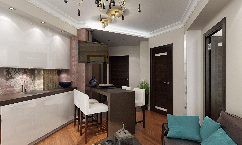 Дизайн кухни-гостиной в однокомнатной квартире_6