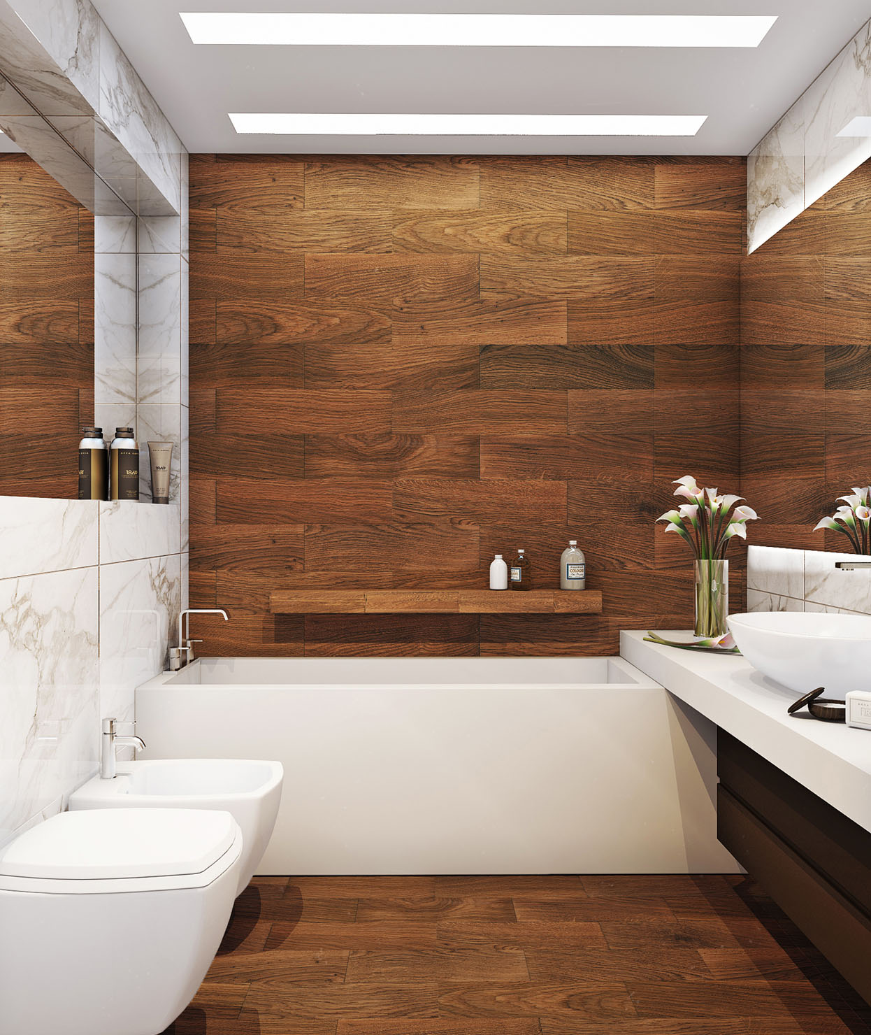 Какие материалы подойдут для ванной вместо плитки_3