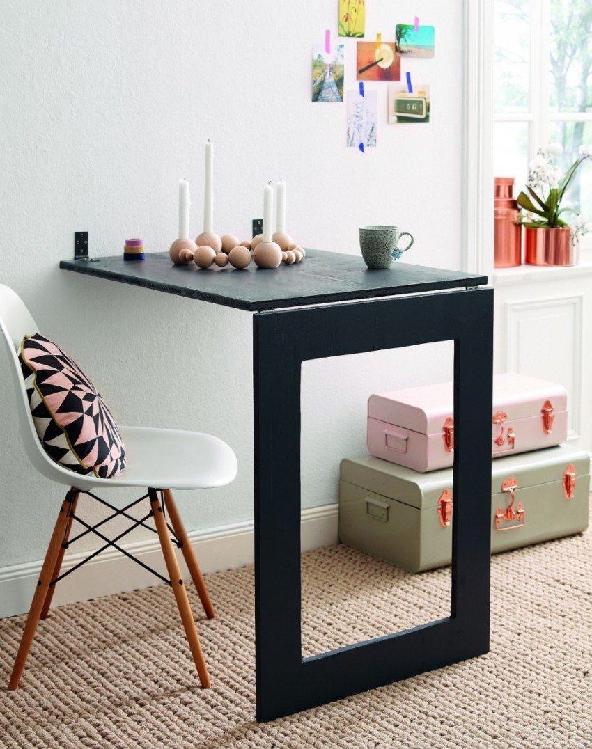 Как сэкономить полезное пространство с помощью откидных столиков в интерьере