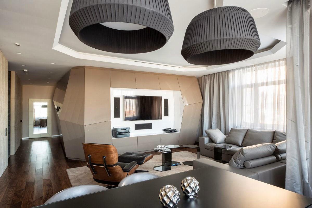 Как красиво обустроить гостиную нестандартной геометрии