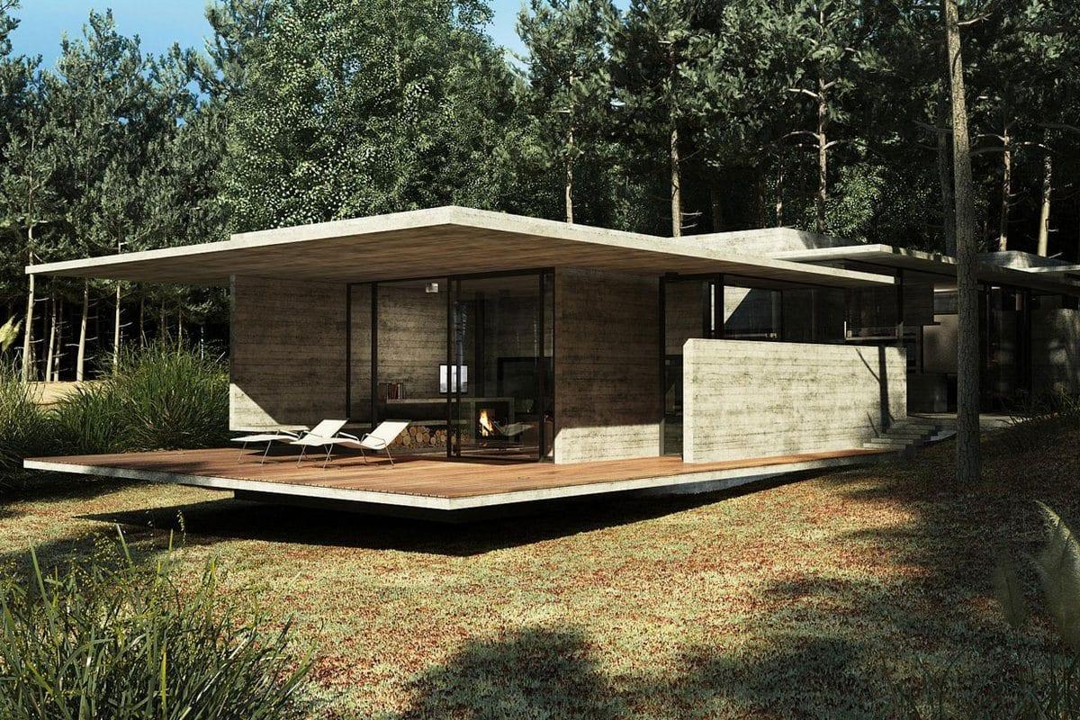 Besonias Almeida Arquitectos, частные дома в Аргентине, бетонный фасад частного дома фото, аскетичный интерьер, минимализм в интерьере, проекты домов