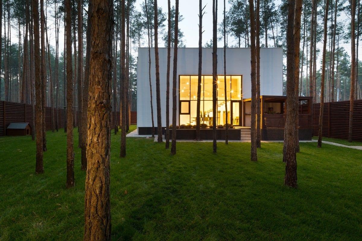 Yakusha Design, частные дома в пригороде Киева, красивые дома на Украине, дом в сосновом лесу, сосны во дворе частного дома, проекты Yakusha Design