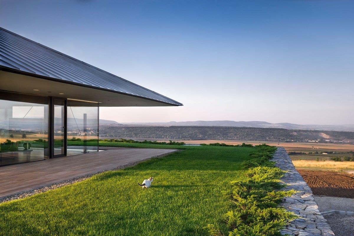 I/O Architects, Observation House, габионы, стена из габионов, дом из габионов, стены дома из габионов, планировка частного дома фото