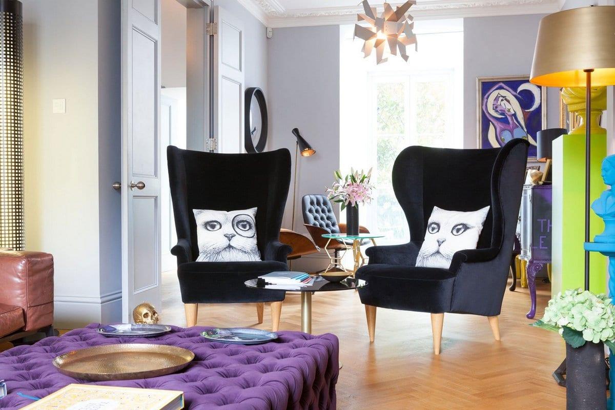 Sutherland Place, частный дом в Лондоне, элитные дома в Лондоне, стильный интерьер фото, винтовая лестница в частном доме, оформление балкона в доме