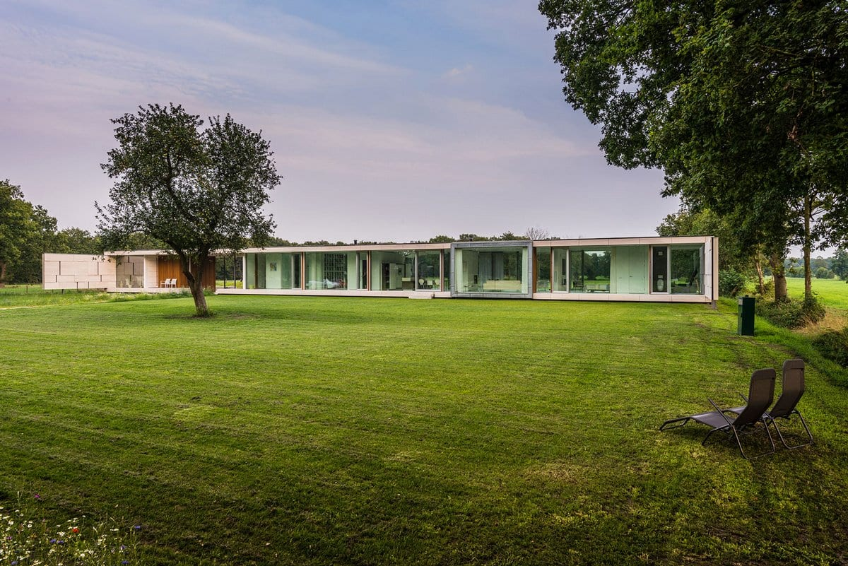 Inbo, Villa Sterk, Бонтебок, частные дома Нидерланды, стеклянные стены, панорамные окна, энергоэффектиынй дом, солнечные батареи в частном доме