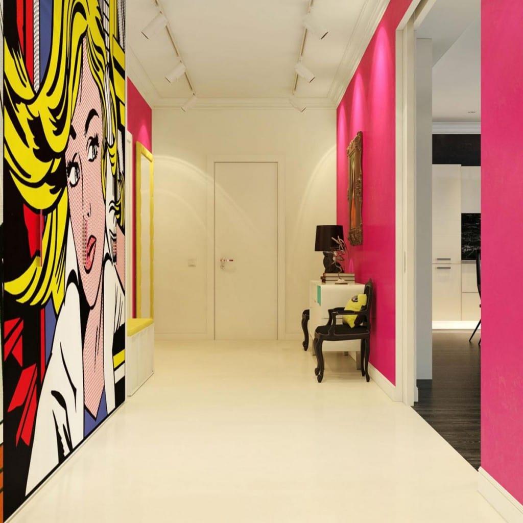 Рой Лихтенштейн, дизайнер Дмитрий Щука, дизайн интерьера в стиле поп-арт, яркий дизайн интерьера, яркие стены в интерьере, картины в интерьере