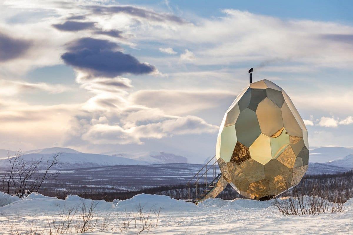 Мобильная сауна SOLAR EGG на просторах Швеции