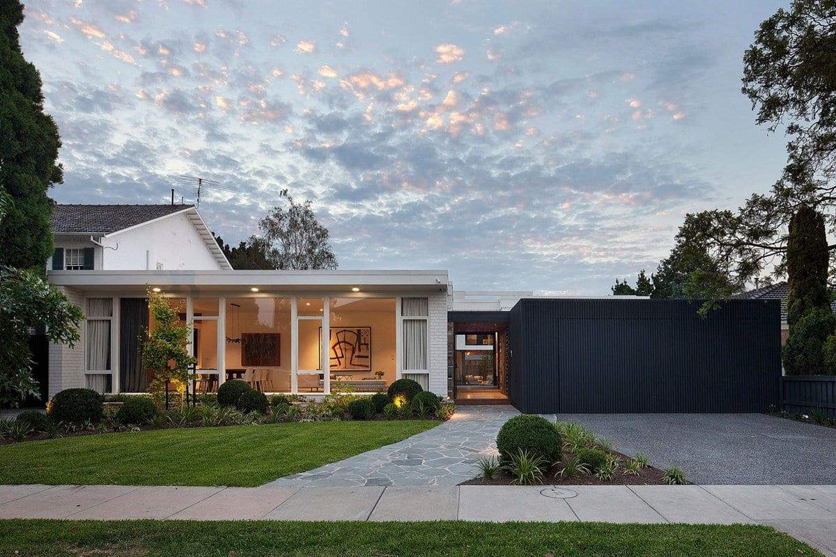 Bower Architecture, Stepping House, П-образный частный дом фото, частные дома в Австралии фото, панорамные окна в частном доме фото