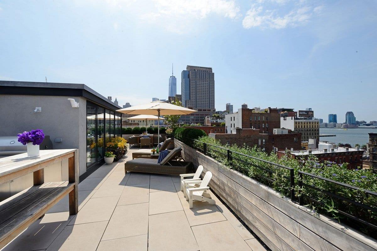 Greenwich St, пентхаус в районе Трайбека, пентхаус с террасой на крыше, терраса на крыше дома, пентхаус на Манхэттене, пентхаус с видом на Нью-Йорк