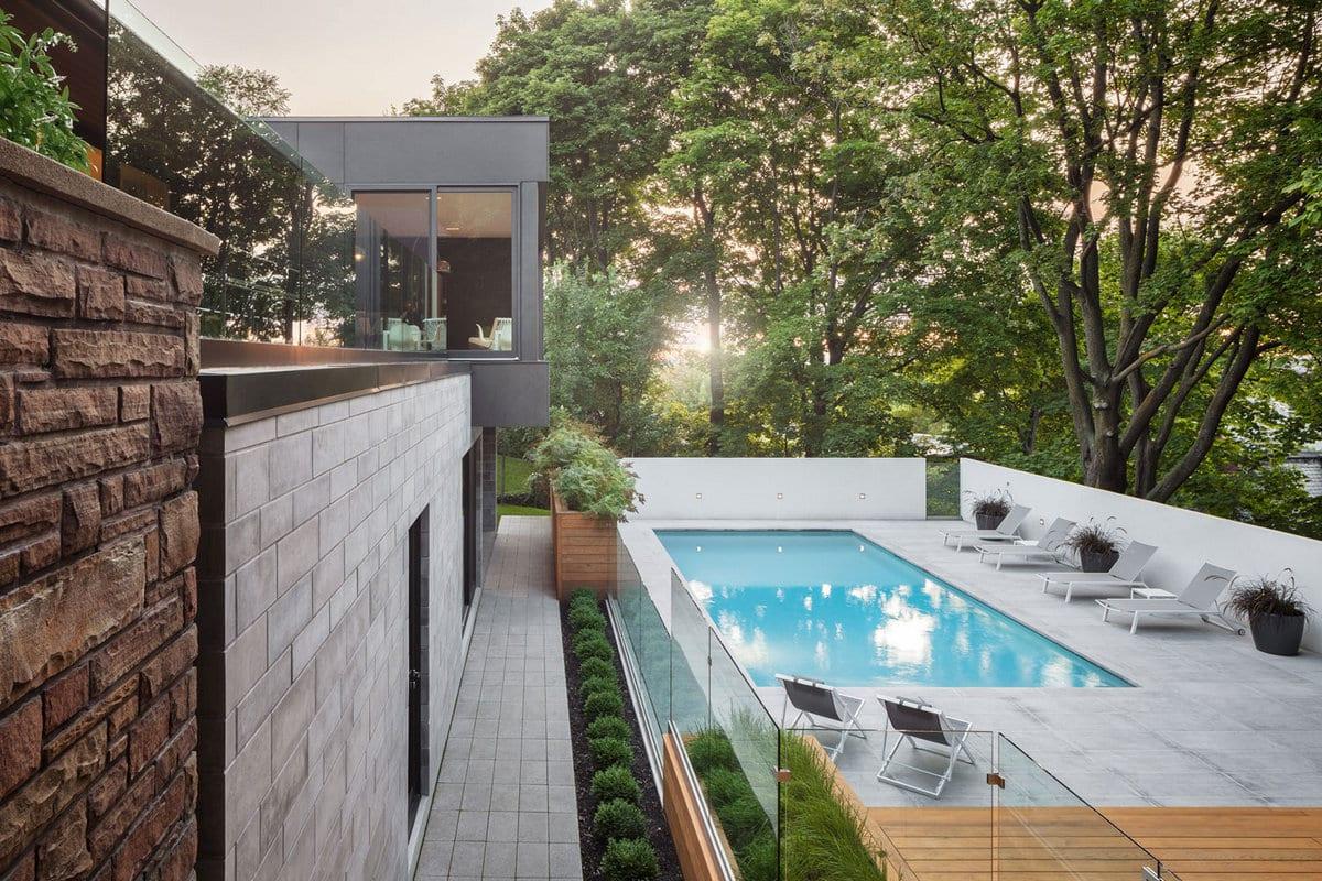 Prince Philip Residence, Thellend Fortin Architectes, частный дом в Канаде, обзоры частных домов, роскошные дома фото, бассейн в частном доме фото