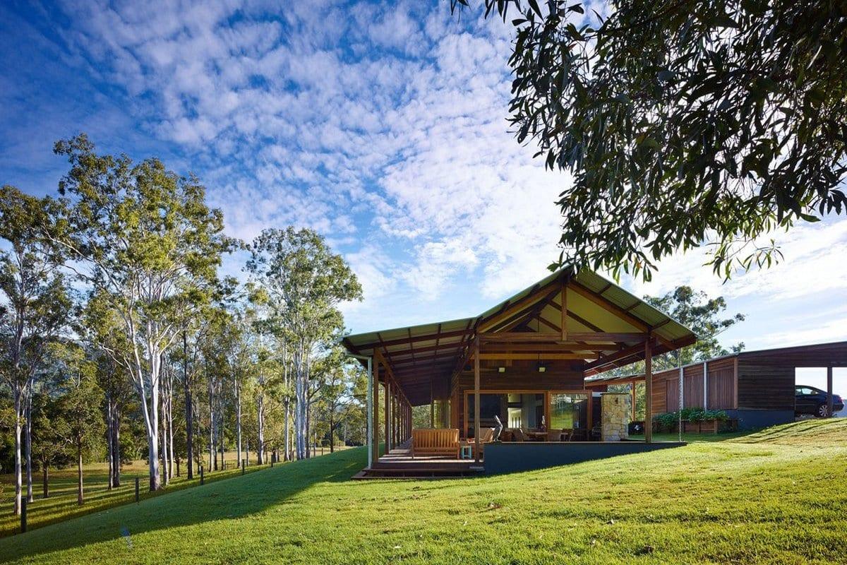Hinterland House, Shaun Lockyer Architects, загородная резиденция, деревянный дом проекты, открыьая планировка деревянного дома, дома в Австралии фото